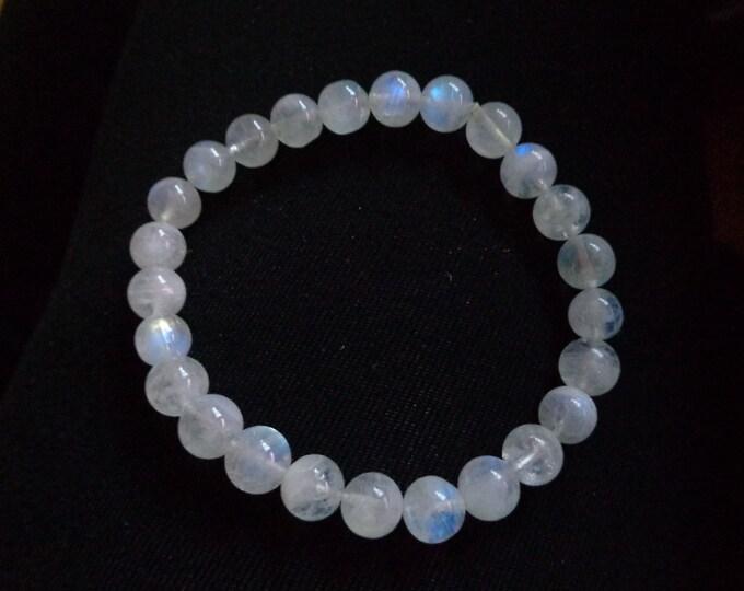 MOONSTONE Bracelet, Blue Flash Moonstone, Quality Natural Moonstone, Chakra Stone, June Birthstone, Gift for Her, Valentine's Day Gift