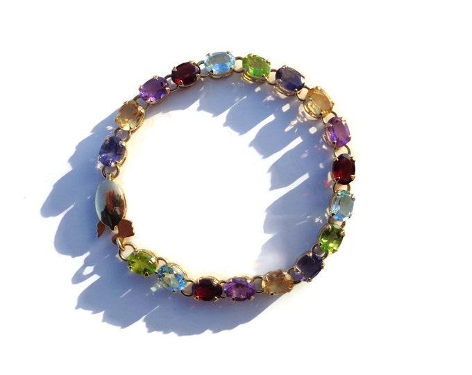 14K Solid Gold Multi Gemstones Bracelet, Stunning Oval Gemstone Gold Bracelet, Natural Gemstones, Gold Bracelet, Gift For Her, Appraisal