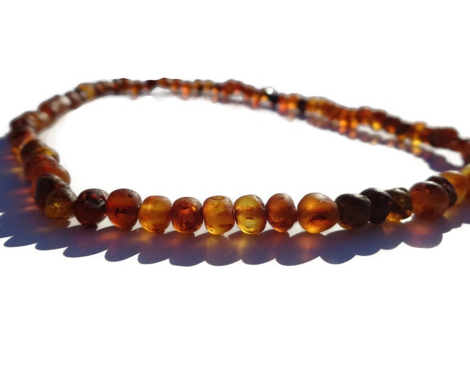 "Amber Necklace, 18"" to 52"",  Stretchable Amber Necklace, Raw Baltic Amber Beads, Headache, Migraine, Sports Injuries, Arthritis, Joint Pain"