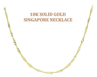 Real Gold Singapore Chain, Best Quality Italy Solid 10K Gold Necklace, Singapore Rope Gold Ankle Bracelet, Gold Curb Anklet, Figaro Anklet
