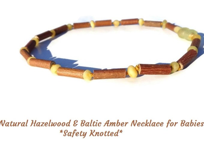 Healing Hazelwood Baby Necklace, Immune Booster, Raw Baltic Amber Beads, Natural Treatment for Acid Reflux, Eczema, Teething Inflammation