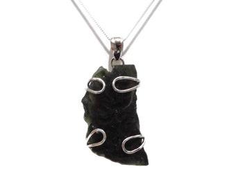 Moldavite Pendant, Moldavite Necklace, Tektite Pendant, Moldavite Crystal, Genuine Czech Moldavite, 925 Silver, Raw Moldavite, Meteorite