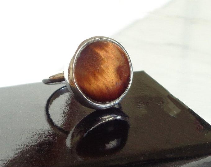 Vintage Natural Tigers Eye Sterling Silver Ring, Polished Tiger's Eye Ring, Healing Stone Tiger Cats Eye Gemstone, Solar Plexus Chakra Stone
