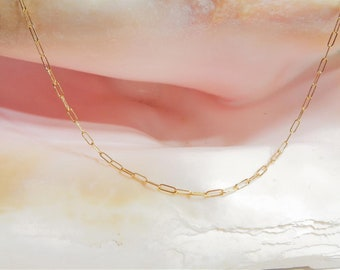 14K Gold Filled Drawn Link Chain, Gold Paperclip Necklace, Dainty Minimalist Layering Necklace, Rectangle Chain Necklace, Christmas Gift