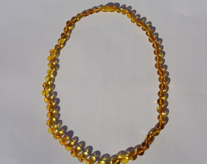100% NATURAL Amber Necklace, Real BALTIC AMBER Stone, Round Beads Baltic Amber Necklace,  Sunny Lemon For Adults 14.4 grams Handmade