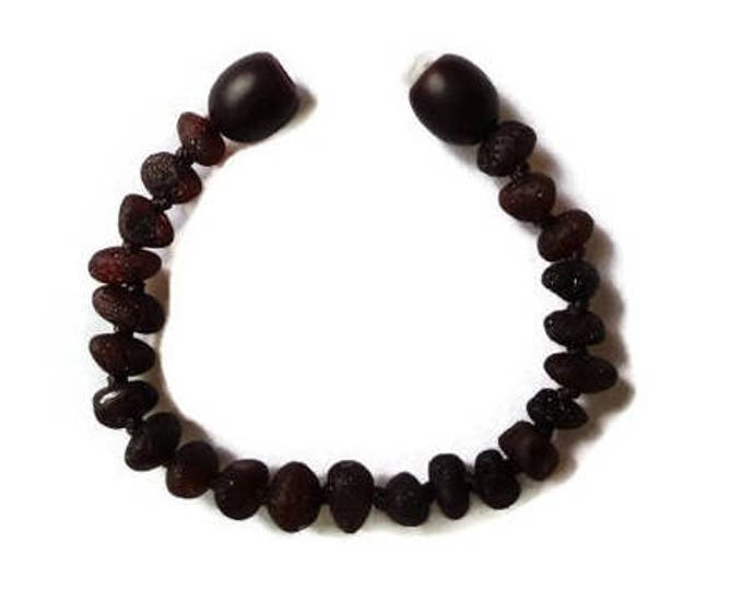 Raw BALTIC Amber Teething Anklet / Bracelet, Amber Baby Anklet, Amber Baby Bracelet, Black Cherry Amber, Teething Pain Relief, SAFE KNOTTED