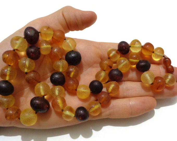 PREMIUM Amber Necklace, Baltic Amber Necklace, Unpolished Healing Amber, Fibromyalgia Relief Jewelry, Handmade,  11-13 mm Amber Beads 45.3gr