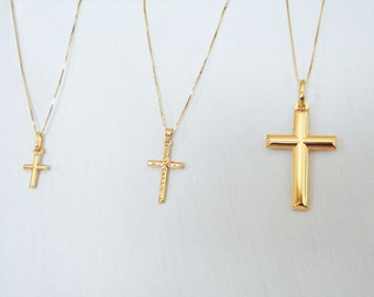 Gold Cross Necklace, 10K Solid Gold Box Chain With Cross Pendant, Yellow Gold Christian Jewelry, Cross Charm, Religious Jewelry Baptism Gift