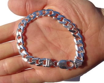 Curb Link Bracelet, SOLID 925 ITALY Sterling Silver Curb Bracelet, Cuban Link Bracelet, Solid - Not Hollow, Christmas Gift for Men
