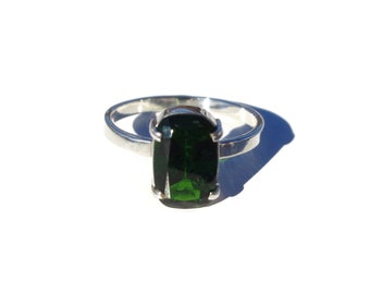 Chrome Diopside Silver Ring, 925 Silver Ring, Faceted Green Gemstone, Natural Chrome Diopside, Siberian Emerald, Sterling Silver Ring, Sz 7