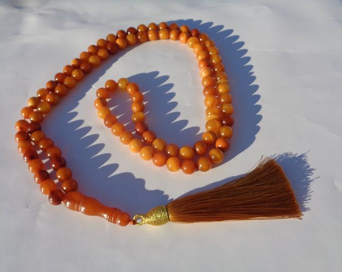 99 Bead Muslim Rosary with Minaret, Baltic Amber Prayer Beads Necklace, Prayer Necklace, Tasbih, Misbaha, Butterscotch Amber, 47gr