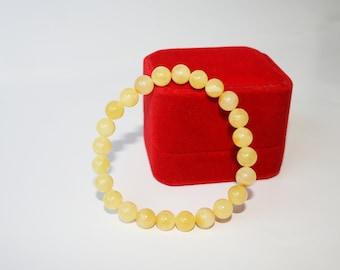 Royal White Amber Bracelet, Real Amber Bracelet, Egg Yolk Amber, 100% NATURAL,  Butter Amber Bracelet, Unique Gift For Her