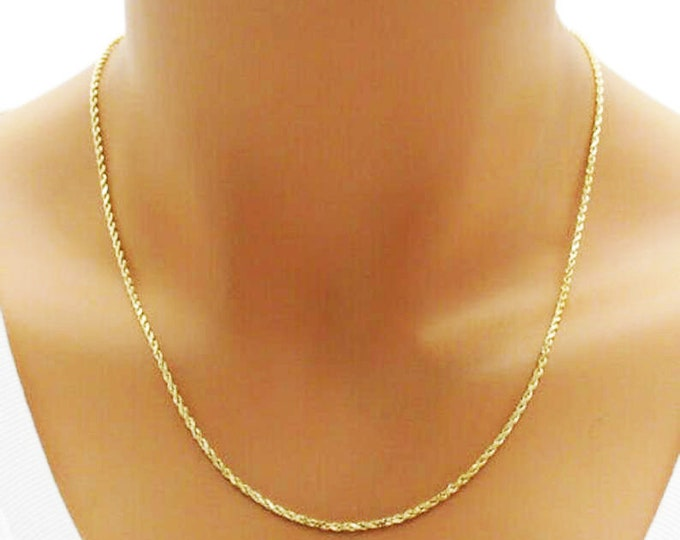 Gold Chain, Diamond Cut ROPE Chain, Gold Necklace, Gold Chain, Solid 925 Silver Chain, Top Quality Italian Chain, Christmas Gift for Her