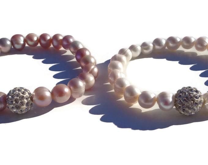 Cultured Freshwater Pearl Bracelet, Real Pearl Bracelet, Wedding Pearls, Bridesmaid, Pearl Jewelry, June Birthstone, Valentine's Day Gift