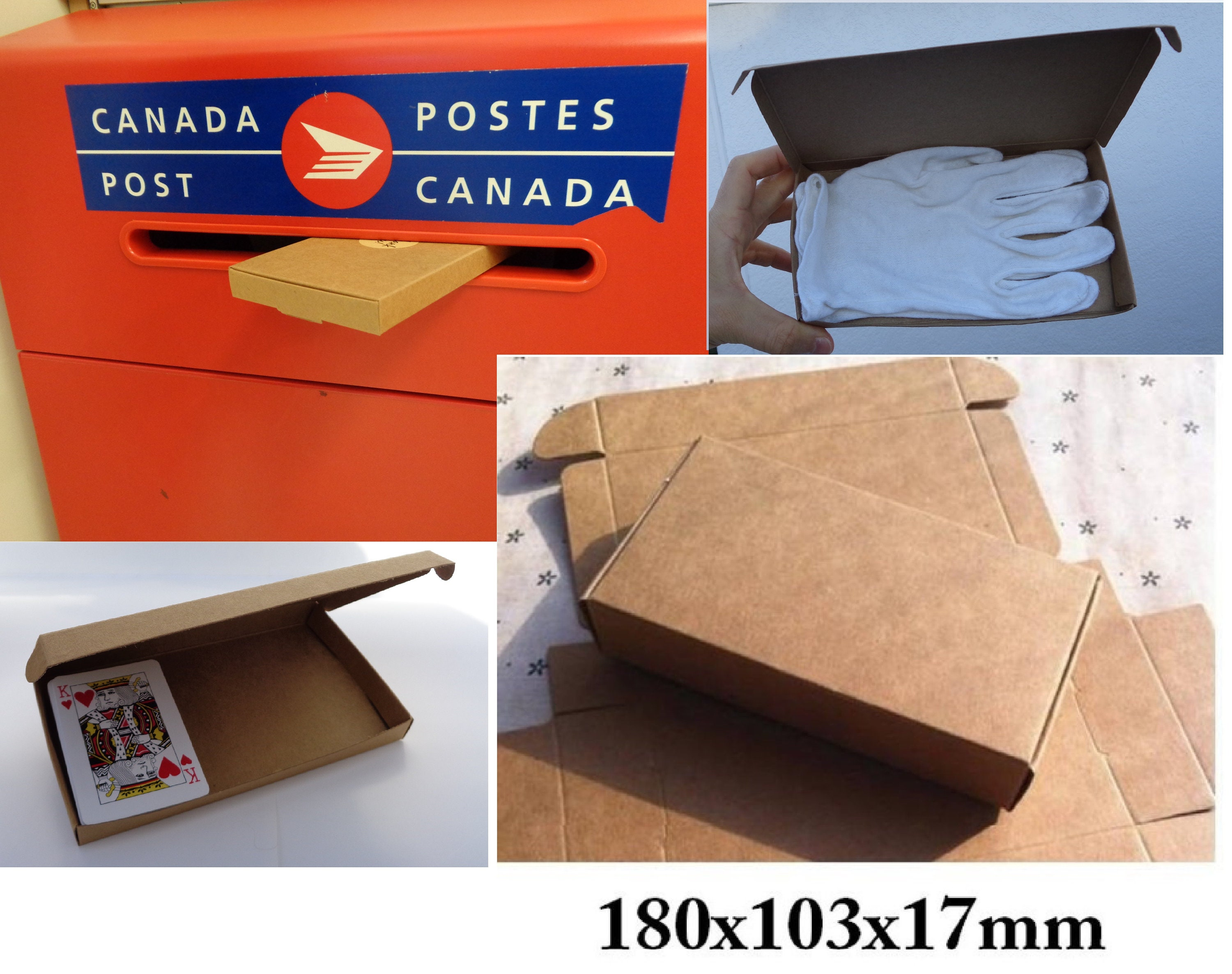 Kraft Paper Boxes Gift Boxes Fits Through Mail Slot 180x103x17mm