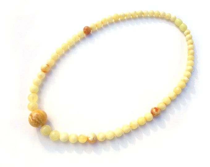 BALTIC AMBER Necklace, 100% NATURAL Handmade Royal White Butter Amber Necklace, Real Amber Beads, Baltic Amber Jewelry, Gift for Her
