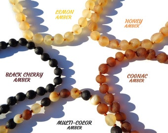 """Authentic Baltic Amber Necklace 10""""-26"""", 100% Natural Amber Necklace for Children and Adults, Healing Amber, Anti Inflammatory, Reduce Pain"""