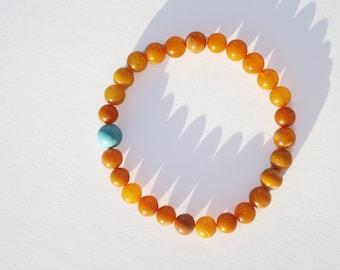 Turquoise Amber Bracelet, Highest Quality BALTIC AMBER Bracelet, 100% NATURAL Butterscotch Amber, Royal Round Amber Beads Bracelet