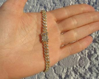 Gold Curb Pave CZ Bracelet, Miami Gold Cuban Chain Bracelet, 925 Sterling Silver Link Gold Plated, Thick Gold Bracelet for Man