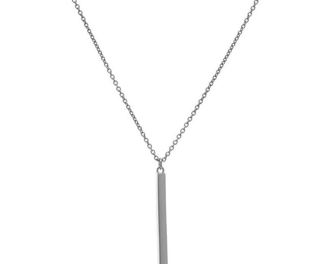 Dainty Bar Drop Necklace, SOLID Sterling Silver Necklace, Layering Necklace, Simple Delicate Minimalist Necklace,Italian Made Christmas Gift