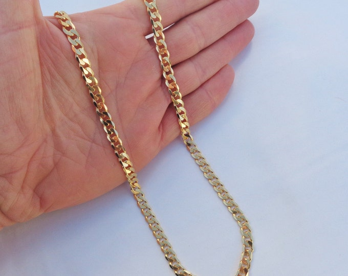 Gold Curb Chain, Gold Chain For Men, Curb Chain Necklace, Gold Cuban Chain, 925 Sterling Silver, Curb Link Chain Necklace, Made in Italy
