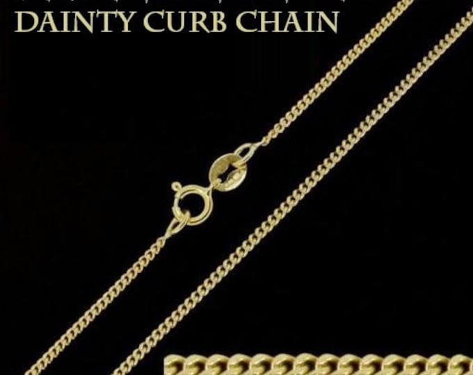 Fine Curb Chain, Vermeil Gold Curb Chain, 925 Silver Curb Chain, Dainty Curb Necklace, Jewelry Chain, Minimalist Necklace, Italian Silver