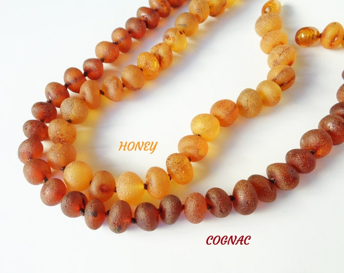 PREMIUM Amber Necklace, LARGE Amber Beads 10-12 mm, Raw Unpolished BALTIC Amber Beads Necklace, Pain Relief, Migraine, Back Pain Relief
