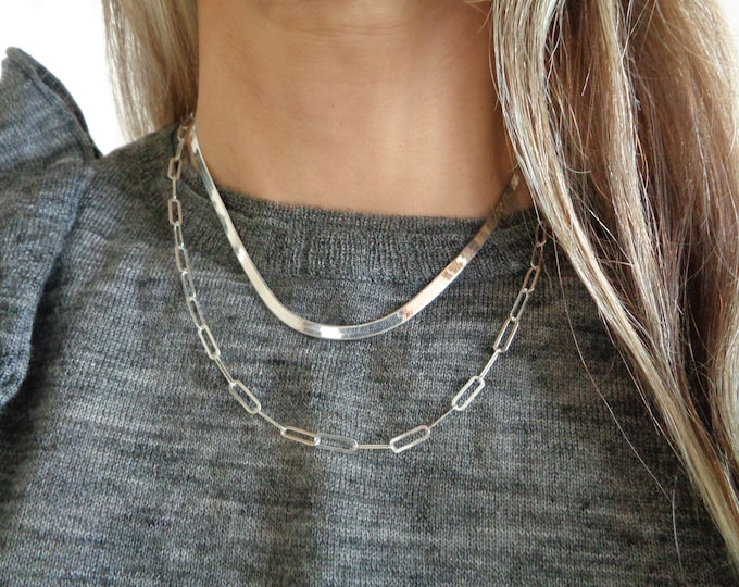 Paperclip Necklace, Solid 925 Silver Sterling Silver Paperclip Chain Necklace, Long Layering Chain Necklace, Large Rectangle Link Chain