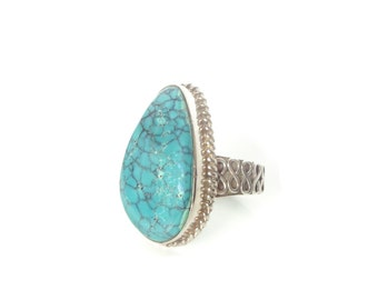 Sterling Silver Turquoise Ring, Vintage Genuine Turquoise Statement Ring, Size 8.5, Turquoise Jewelry 925 Stamped, Turquoise Cabochon