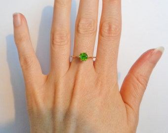 Solid 14K Yellow Gold Ring With Russian Demantoid Garnet 0.81cts, Appraised Green Demantoid, Size 7.25 US, Engagement Ring, Christmas Gift