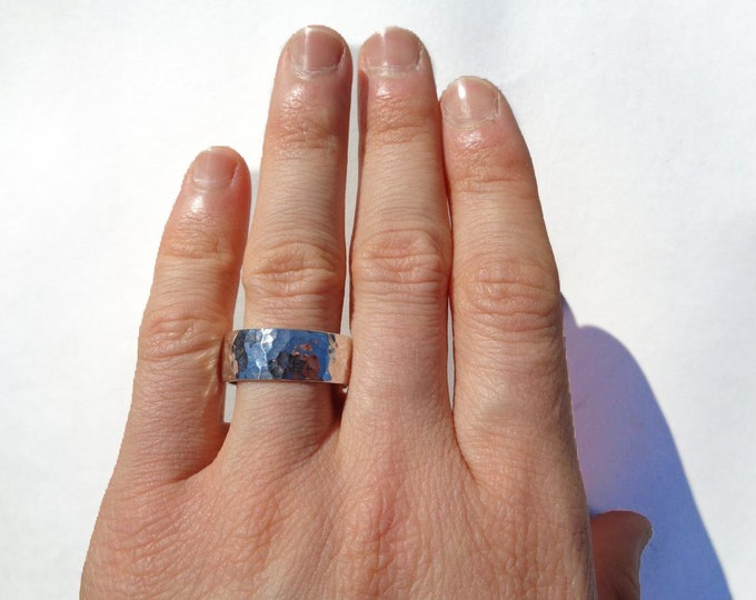 Hammered Sterling Silver Ring, Vintage Hammered Silver Ring, Wide 92.5% Solid Sterling Silver Ring, Sterling Silver Handmade Thumb Ring