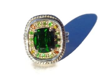 Chrome Diopside Russian Demantoids Silver Ring, 925 Sterling Silver Ring, Natural Chrome Diopside Demantoid Garnet Ring, Statement Ring Sz7