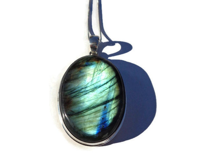 LARGE Labradorite Pendant, Natural Green Blue Iridescent Labradorite Gemstone, Sterling Silver Pendant, Labradorite Crystal, Third Eye Stone