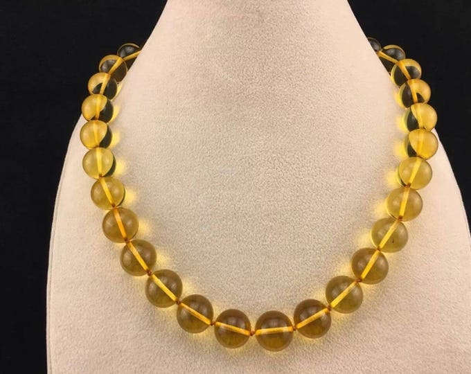 Amber Necklace, Baltic Amber, 100% Genuine Amber, Amber For Adults, Round Amber Bead Necklace 13 mm, Amber Gemstone, Sunshine Lemon 43.2 gr