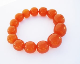 Vintage 1960s Russian Amber Bracelet, BALTIC Butterscotch Amber Round Beads Bracelet, 100% Amber, Reconstitued Amber, Vintage Jewelry, 10mm