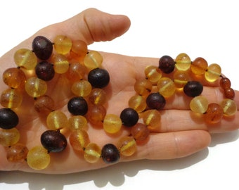 PREMIUM Large Beaded Amber Necklace, 11-13 mm Beads, Baltic Amber Necklace, Unpolished Healing Amber, Fibromyalgia Relief Jewelry, Handmade
