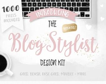 Blog Design Kit - Blogging Graphics - Rose Gold - Watercolor - Social Media - Blogger - Blog Kit - Buttons - Branding - Blog Pixie