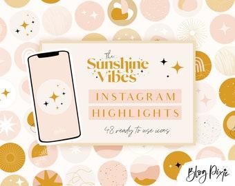 Instagram Highlight Covers Boho - Highlights for Instagram Stories - Instagram Highlight Icons Pink - Sunshine Vibes - Blog Pixie