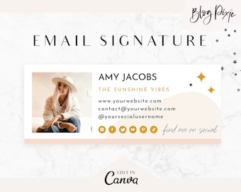 Email Signature Template Canva - Business Email Signature Design - Gmail - Outlook - Blog Email - Edit Yourself Email Signature - Blog Pixie