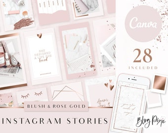 Instagram Story Templates Canva - Rose Gold Blush Pink - Instagram Stories - Rose gold branding - Beauty - Quotes for Instagram - Blog Pixie