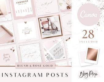 Instagram Post Templates Canva - Rose Gold Pink - Quotes for Instagram - Instagram Templates Canva - Beauty - Instagram Posts - Blog Pixie