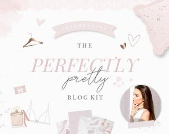 Blog Design Kit - Blog Graphics - Pretty - Feminine - Blush Pink - Rose Gold - Glitter - Clipart - Branding - Beauty - Fashion