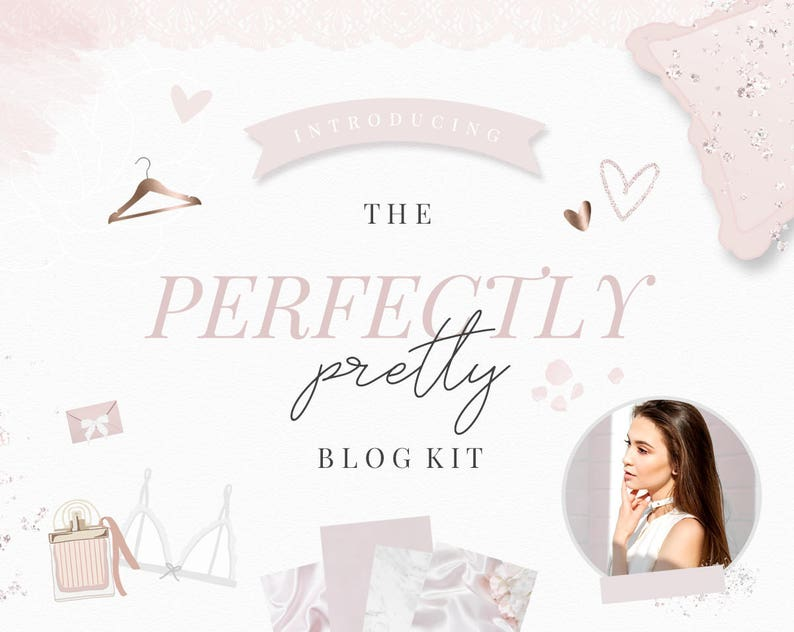 Blog Design Kit  Blog Graphics  Pretty  Feminine  Blush image 0