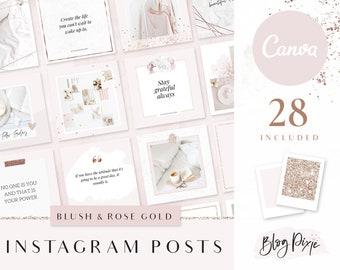 Instagram Template Canva - Rose Gold Pink - Instagram Post Templates Canva - Beauty - Instagram Posts - Quotes for Instagram - Blog Pixie