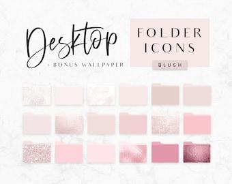 Desktop Folder Icons Blush Pink - Mac Icons - PC Icons - Aesthetic Folders - Macbook Folder Icons - Pink Glitter Folder Icons - Blog Pixie