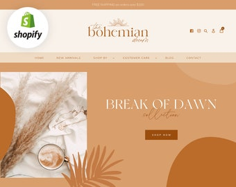 Boho Shopify Theme - Ecommerce Website Template - Bohemian Shopify Store Banners - Shopify Design - Online Store - Blog Pixie