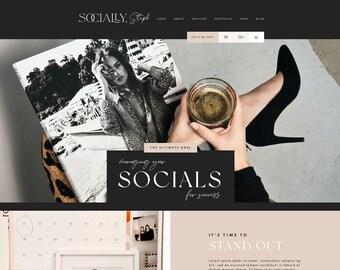 Wix Website Template - Social Media Manager - Website Design - Creative Wix Layout - Ecommerce Blog - Wix Shop - Wix Themes - Blog Pixie