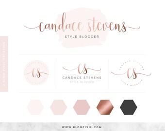 Rose Gold Logo Design - Custom Logo Design - Blog Header - Brand Kit - Branding Package - Watermark - Business Logo - Rosegold