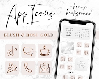 App Icons IOS 14 - Pink Rose Gold App Covers - IOS 14 Widgets - Aesthetic iPhone Home Screen - IOS14 Icon Pack - Blog Pixie