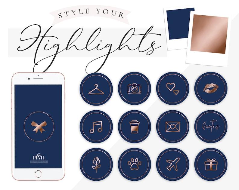 Instagram Highlight Icons - Navy Blue Rose Gold - Instagram Story Covers -  Instagram Stories - Beauty - Blogger - Highlights - Blog Pixie